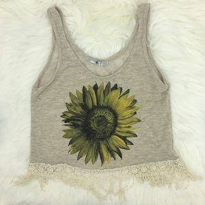 Sunflower Cropped Tank Top With Fringe
